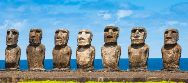 Moais in Ahu Tongariki, Easter island (Chile)